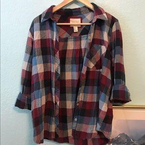 Forever 21 Plaid Curved Hem Shirt